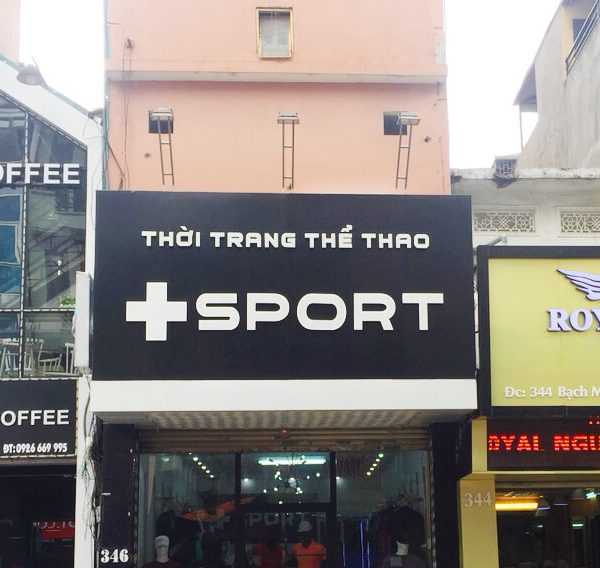 Biển quảng cáo ốp Alu cửa hàng thể thao