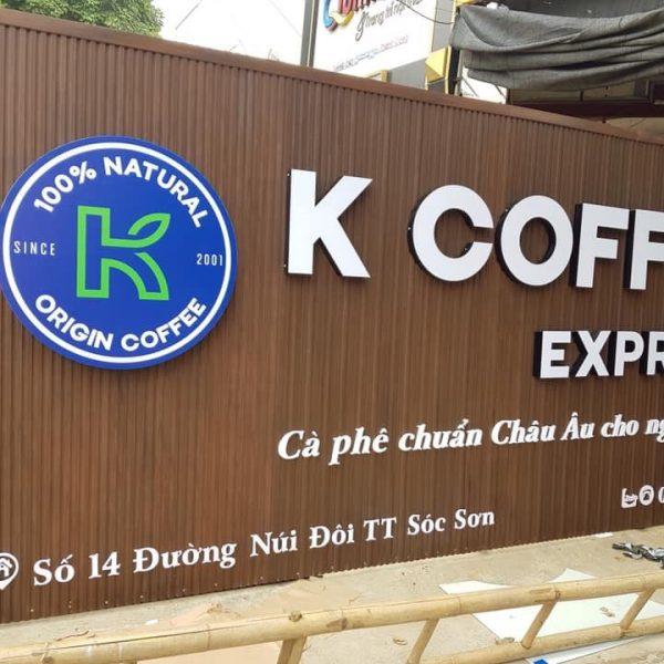 Biển lam nhựa chữ nổi Kcoffee